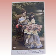French Tinted Real Photo Postcard, Mother, Daughter & Doll, Ca. 1910s