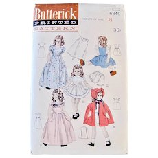 Doll Clothes Sewing Pattern, Butterick 6349, Size 21-inch, Vintage 1940s