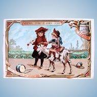 Antique French Chromo Litho Trade Card, Girls Riding a Goat, Signed J. Liebig