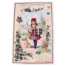 Antique French Chromo Litho Trade Card, Dog, Girl and Album, Chocolat Guerin-Boutron