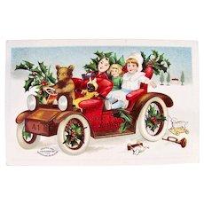 International Arts Christmas Postcard, Teddy Bear Driving Car, 4 Dolls, Copyright 1907