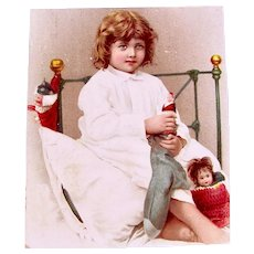 Antique German Scrap, Girl, Stockings, Doll and Puppets, Christmas Circa 1910s
