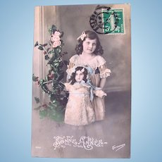 Tinted French Real Photo Postcard, Doll and Roses, 1913 Postmark