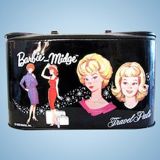 Barbie and Midge Travel Pals Train Case, With Original Mirror, Vintage 1963