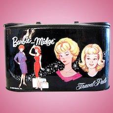 Barbie and Midge Travel Pals Train Case, With Original Mirror, Vintage 1963