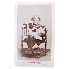 Pouty Girl and Doll, Petite French Cabinet Card Photograph, Circa 1890s