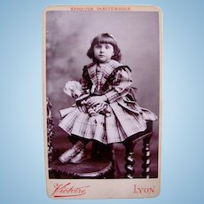 French Cabinet Card Photograph, Girl in Plaid Dress Holding Doll, Early 1900s