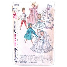 Simplicity Pattern 1808, Wardrobe for Revlon and Cissy Dolls, Size 18-Inch