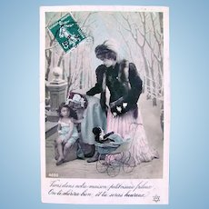French Real Photo Postcard, Charity #2, Hand Tinted, Postmarked 1908