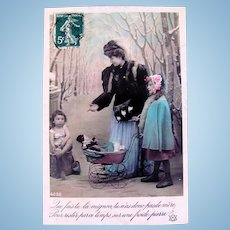 Hand Tinted French Real Photo Postcard, Charity #1, Postmarked 1908