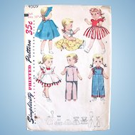 Simplicity Pattern 4509, Wardrobe for Saucy Walker Doll, Size 16-Inch