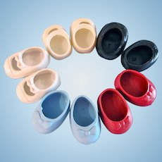 Shoes For 7 to 8 Inch Dolls, 5 Pairs, Red, Blue, Black, White