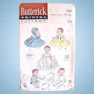 Butterick Pattern 7158, Wardrobe for Tiny Tears Baby Doll, Size 13-Inch