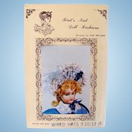 Vintage Doll Bonnet Pattern, Wired Hats, Size 9/10 and 13/15 Inch Circumference, Unused
