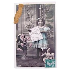Tinted French Real Photo Postcard, Girl, Doll, Roses, Happy Birthday