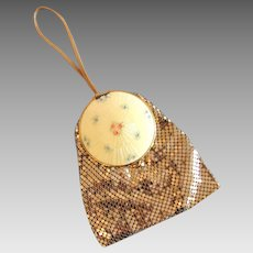 Langlois Gold Mesh Evening Bag, Cloisonné Top in Original Box