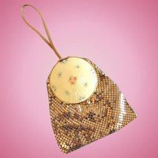 Langlois Gold Mesh Evening Bag, Cloisonné Top in Original Box