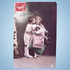 Tinted French Real Photo Postcard, Kiss Goodnight, Girl, Doll, Teddy Bear, 1914