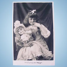 French Real Photo Postcard, Doll & Girl Blowing Kisses, Circa 1910s