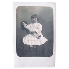 French Real Photo Postcard, Cherubic Child and Doll, Circa 1910s