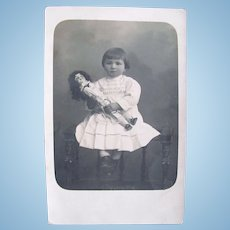 French Real Photo Postcard, Cherubic Child and Doll, Circa 1910s