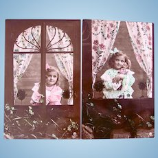 French Real Photo Postcards, Set of 2, Girl In Window, Doll and Flowers