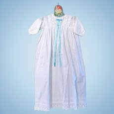 English Christening Gown, Hand Stitched, Broderie Anglaise, Circa Early 1900s