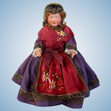 French Celluloid Souvenir Doll, Savoie Folk Costume, French Alps, Circa 1940s