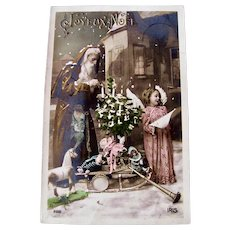 Tinted French Real Photo Postcard, Orange Robe Santa, Dolls and Toys, Postmarked 1909