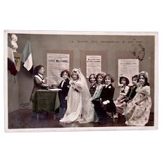 Tinted French Real Photo Postcard, Circa 1904, Children's Wedding
