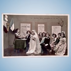 Tinted French Real Photo Postcard, Circa 1904, Children's Wedding