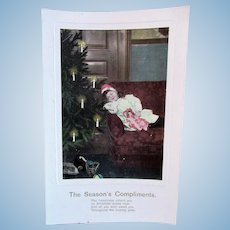 Girl, Doll and Toys #4, Tinted Real Photo Postcard, Circa 1910s