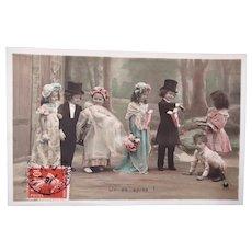 Doll's Baptism, Tinted French Real Photo Postcard, Circa 1904,