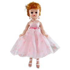 Vogue Jill Doll in Tagged Pink Print Gown, Hard Plastic Walker, Vintage 1958