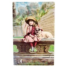 Lithograph Trade Card, Girl and Pug Dog, Kidd's Cough Syrup, Pittsburgh