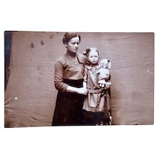 Real Photo Postcard, Mother, Daughter and Doll, Dated 1915