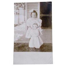 Best Friends, British Real Photo Postcard, Little Girl and Doll, Edwardian Era