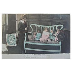 Tinted French Real Photo Post Card, Girl and Dolls, The School Mistress, Postmarked 1906