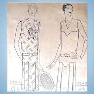 Flapper Dress Pattern, Pictorial Printed Pattern 4816, Size 18, Complete, Dated 1925