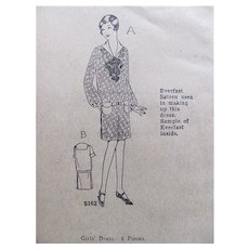 Girls' Dress Pattern, Ladies Home Journal 4816, Size 14, Factory Folded, Vintage 1920s