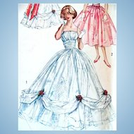 Ball Gown Pattern, Simplicity 2231, Misses Size 12, Complete, Vintage 1950s Evening  Dress