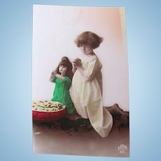 Tinted French Real Photo Postcard, Girl & Doll, Circa 1920s
