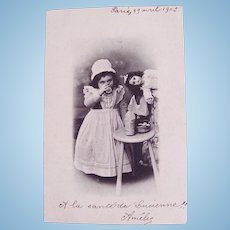 French Real Photo Postcard, Little Nursemaid and Doll, Postmarked 1903