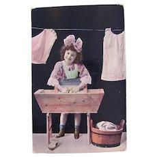 Tinted French Real Photo Postcard, Washday, Postmark 1909