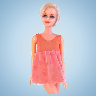Twiggy Doll Wearing Night Brights, Mattel, Vintage 1968-70