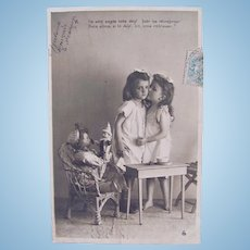 French Real Photo Postcard, 2 Dolls, 2 Girls, Circa Early 1900s