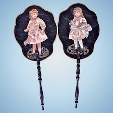 Antique French Fans With Silk-Costumed Paper Doll Ornamentation, Rare Pair, Circa 1880s