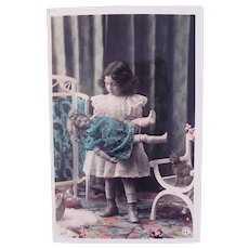 Tinted French Real Photo Postcard, Sleeping Doll, Girl & Kitten, Dated 1907