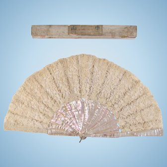 French Mother Of Pearl and Lace Fan in Original Labeled Box, Circa 19th Century