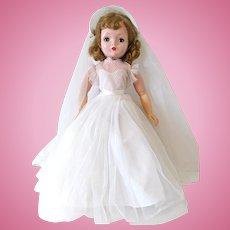 Binnie Bride Doll, 18-Inch Cissy Face, Madame Alexander Doll, Vintage 1956